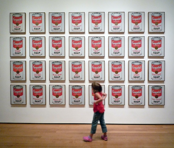 "Andy Warhol, Campbell's Soup Cans, 1962, synthetic polymer paint on 32 canvases, each 20 x 16"" (The Museum of Modern Art)"