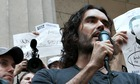 Russell Brand met with Occupy Wall Street protesters in New York City