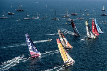 Aerial view of the fleet during the In-Port Race in Alicante, Spain on Oct. 4