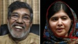 Combination photo shows the two winners of the 2014 Nobel Peace Prize. Indian children's activist Kailash Satyarthi (L) at his office in New Delhi and Pakistani schoolgirl Malala Yousafzai speaking at Birmingham library, Birmingham, central England, Oct. 10, 2014.