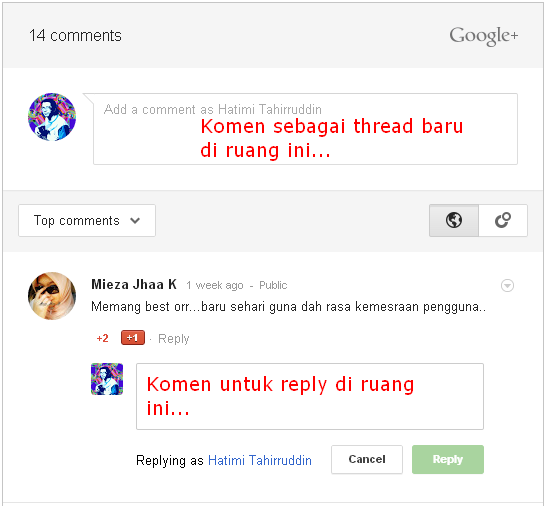 Sistem Komen Google+ Di Blog | Thread VS Reply
