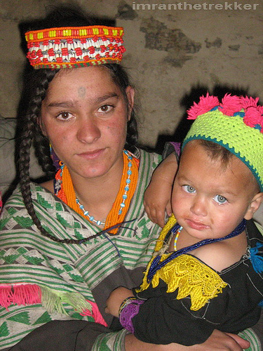 Kalash woman and her baby (Chitral)