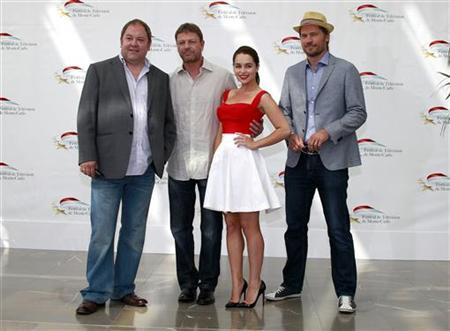 (L to R) Actors Mark Addy, Sean Bean, Emilia Clarke and Nikolaj Coster-Waldau who star in the television series 'Game Of Thrones' pose during a photocall at the 51st Monte Carlo television festival in Monaco June 9, 2011. REUTERS/Eric Gaillard