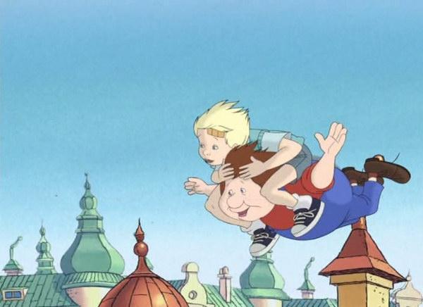 Кадр из зарубежного мультфильма: Малыш летит на Карлсоне. Об этом мечтает любой малыш.