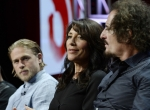 (L-R) Cast Members Charlie Hunnam, Katey Sagal And Kim Coates Of Drama The Series 'Sons Of Anarchy' Participate In A Panel Discussion During FX Networks' Portion Of The 2014 Television Critics Association Cable Summer Press Tour In Beverly Hills