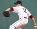 Boston Red Sox starting pitcher Clay Buchholz (11) pitches against the Los Angeles Angels during the first inning at Fenway Park.