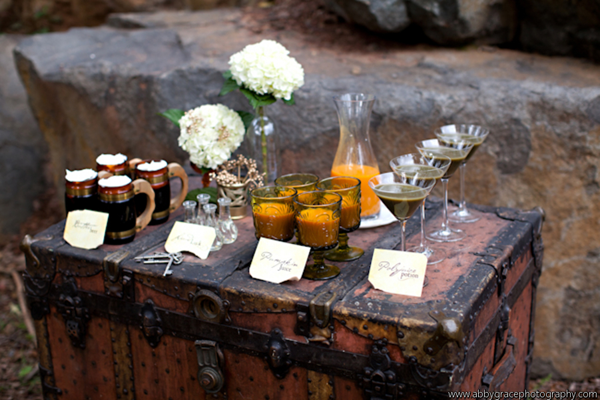 vintage trunk as drink display