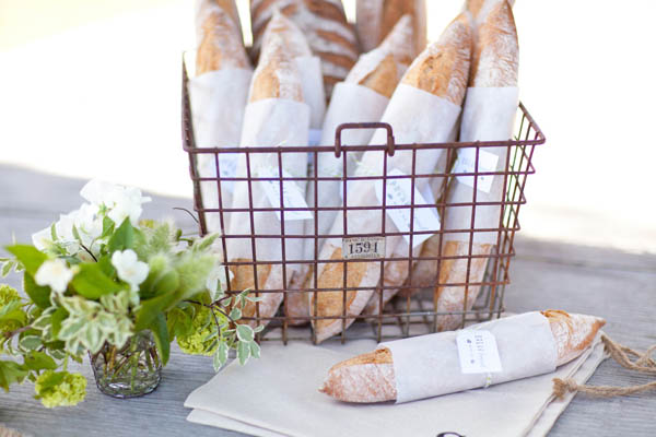 vintage wire basket filled with loaves of fresh baked baguettes