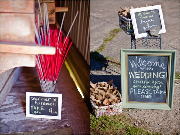 sparklers for getaway, chalkboard wedding signs