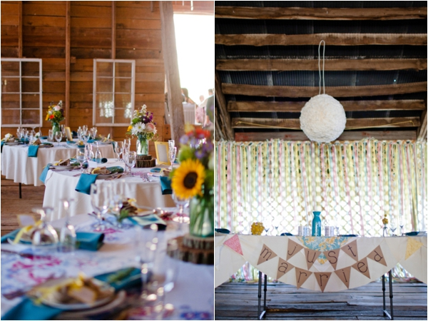 handmade rustic vintage barn wedding reception, just married flag bunting