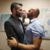 Jim Derrick and Alfie Travassos get married by Rev. Justin Lopez at the Salt Lake County Government Complex in Salt Lake City, Utah, October 6th, 2014.