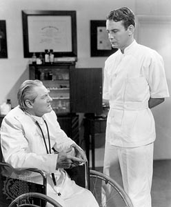 Lionel Barrymore (left) and Lew Ayres in a Dr. Kildare movie.