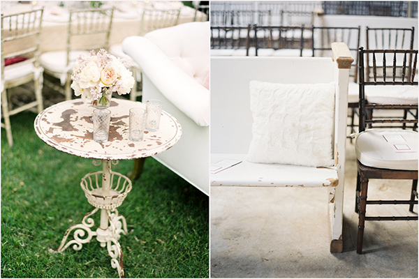 vintage side table as wedding decor, vintage pew as ceremony seating