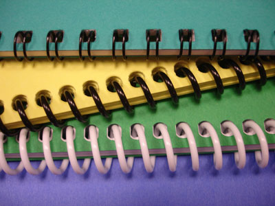 Wire-o and plastic coil binding.