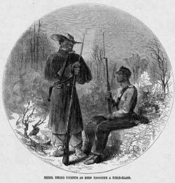 A drawing published in Harper's Weekly, depicting African American soldiers in the Confederate States Army. Image courtesy of the Library of Congress.
