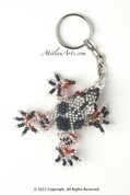 Tree Frog Beaded Keychain (silver and blue with orange belly)
