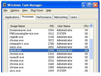 Stop Vprot.exe from Running in Task Manager