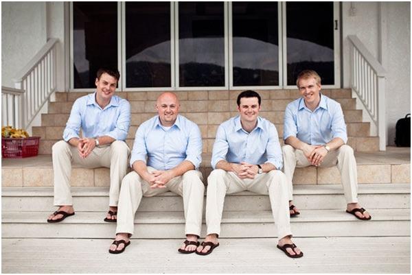 light blue men's button down shirts, khaki pants, men's beach attire, blue wedding ideas