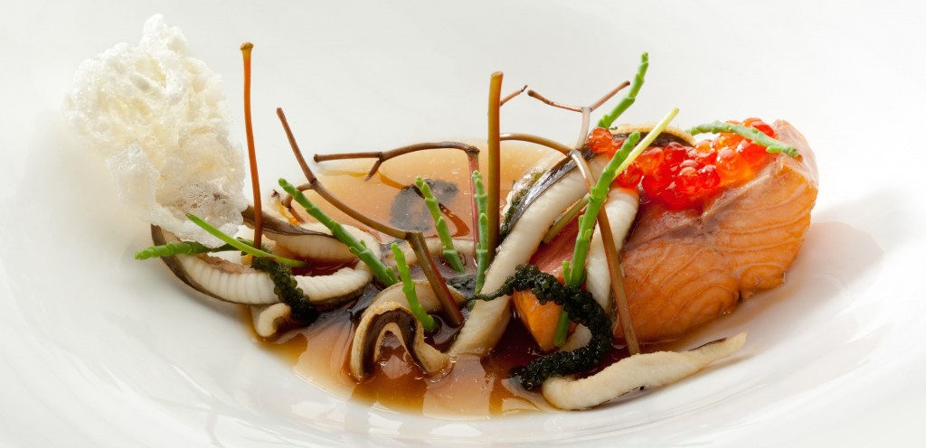 Voyage 3.0_Austria_Trout, Smoked Eel ConsommÇ, Anago & Seaweed