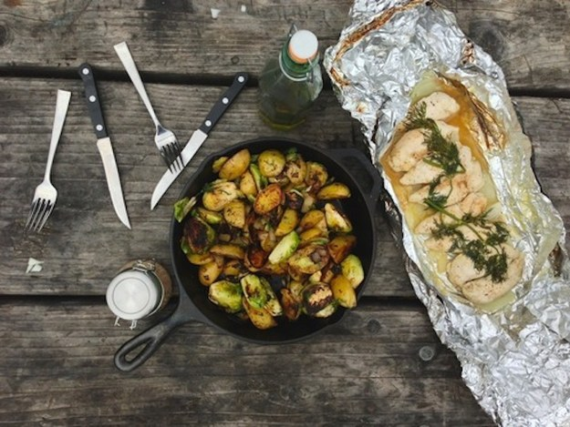 Chicken with Roasted Brussels Sprouts and Dill Potatoes