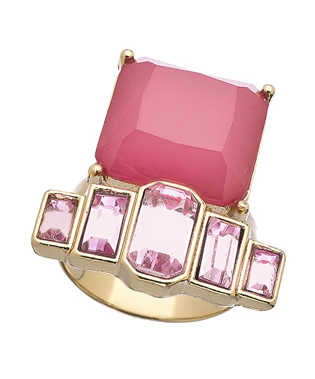 Gold and Pink Art Deco Ring