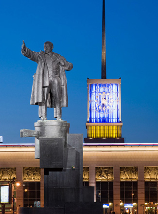Monument to Vladimir Lenin next to Filnald Railway Station in St Petersburg, Russia