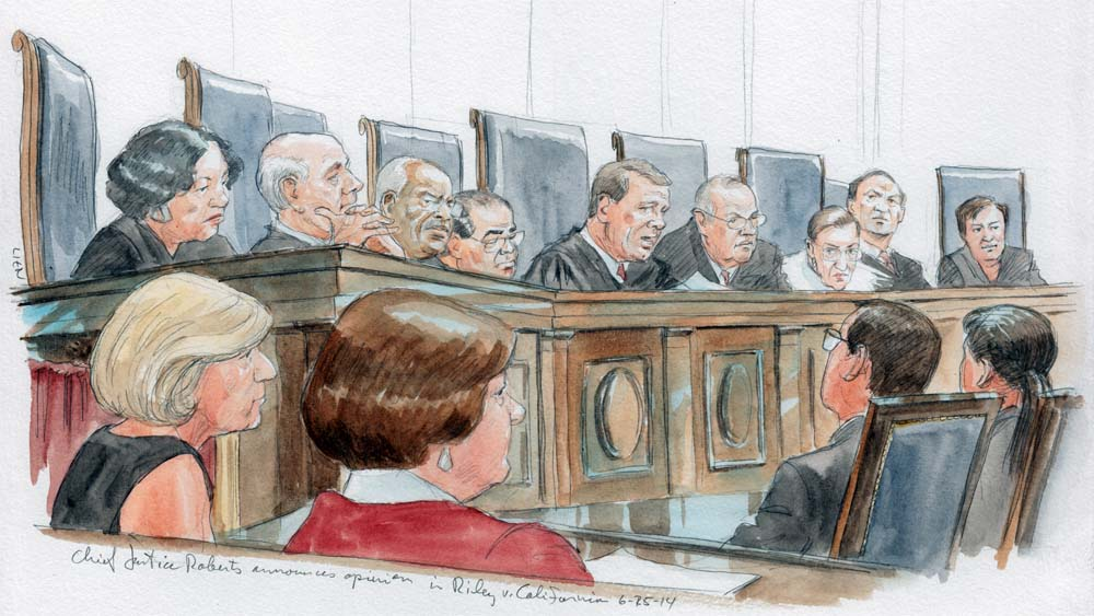 Supreme Court The Supreme Court was unanimous in its decision to give cell phones of all kinds special privacy protections. [Image Source: Art Lien]