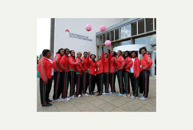 The Malawi Commonwealth Games netball team at the University of Gloucestershire campus at Oxstalls