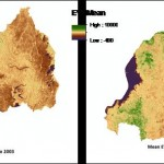 An EVI map of Rwanda derived from Terra's MODIS sensor showing the average vegetation cover change during reforestation efforts from 2000 to 2011. Image Credit: DEVELOP Langley Team.