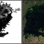 Moderate Resolution Imaging Spectroradiometer (MODIS) imagery depicting Lake Victoria normalized difference vegetation index (NDVI) extraction before (left) and after (right). The left shows an unprocessed satellite image, while the NDVI image is shown on the right, depicting aquatic vegetation in green. Bright green areas indicate dense aquatic vegetation. Source: USGS.