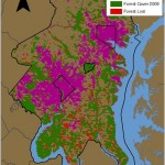 This map of the Baltimore, Maryland – Washington, D.C., corridor shows forest cover lost from 2001 to 2009. The regions in red are where forest was present in 2001 but absent in 2009. The map was produced using Moderate Resolution Imaging Spectroradiometer (MODIS) Level 3 Yearly Land Cover Type Data.