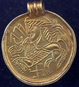 Here, a Swedish bracteate roughly from 400 AD (historiska museet, Sweden).