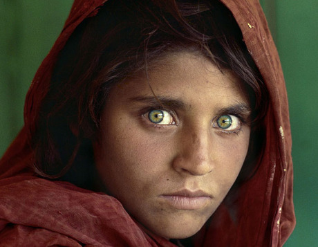 The famous Afghan girl with piercing green eyes.