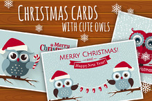 Christmas set with cute owls