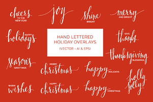 Hand Drawn Holiday Overlays (Vector)