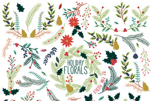 Christmas Holiday Vintage Florals