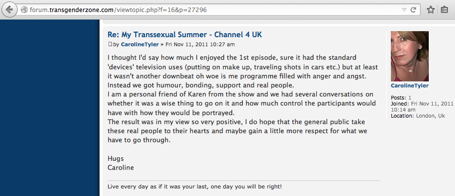 A screeshot from TransgenderZone.com showing Caroline Tyler's post. Her profile avatar is the same as a picture she shared on FetLife, the BDSM dating website.