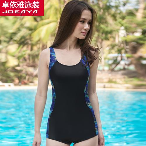 夏艳情侣泳衣女式平角连体游泳衣加大码中老年显瘦温泉泳装1181C8