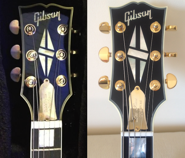 The one on the left is the fake, notice the slight differenceds to the one real one on the right, the headstock shape is slightly different, as are the inlays and the positioning of the tuning pegs.