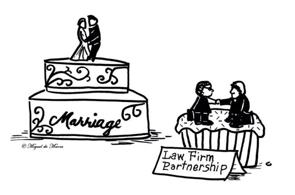 lawyer, attorney, law firm partnership formation, cupcake, wedding cake, bride and groom, handshake, business, lively lawyer cartoon