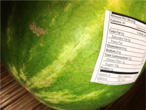 watermelon with nutritional data label