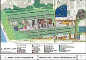 Long-term master plan for LAX, including a linear terminal where terminals one through three exist today. (Source: LAWA)