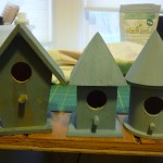 Milk paint powder bird houses