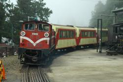 Train pulling into Alishan station