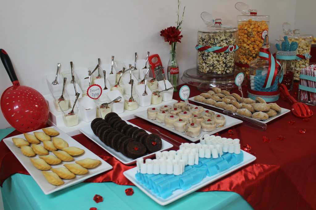 red teal dessert bar shower