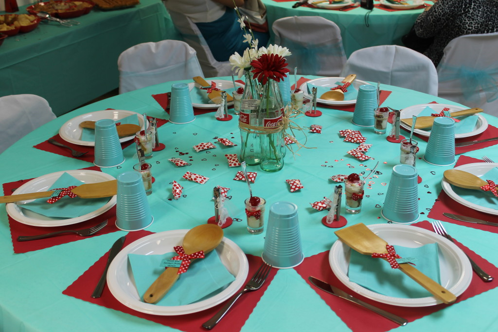 bridal shower red teal table decor