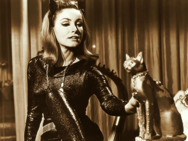 julie newmar wide gold Catwomans blessing: Julie Newmar says Anne Hathaway will be marvelous