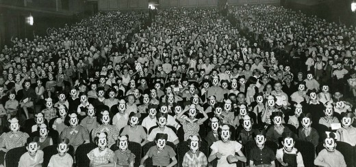 A meeting of mickey mouse fan club members in 1930.