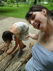 Emily and Jennifer Porter Making a Reed Raft