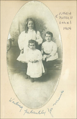 Isabel, Roscoe, and Ethel Wall, O.S.B. Wall's grandchildren, Washington, D.C., c. 1909. Click image to expand.